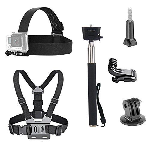 Dovob Action Camera kit accessori inclusi Head strap Mount + cinghia da petto + selfie stick palmare monopiede per GoPro/Apeman/Akaso/Panasonic/Dbpower Camkong/Wimius/Fujifilm/Icefox/Campark