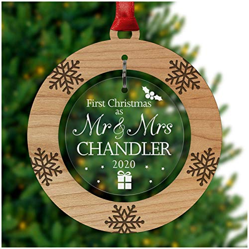 PERSONALISED Mr & Mrs 1st First Christmas Tree Ornament Decoration Bauble Xmas - Cherry Veneer and Acrylic Engraved Christmas Tree Ornament - Keepsake Christmas Gifts Presents