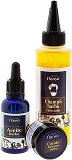 Cuidado Barba bigote Hombre Pack Premium: Aceite serum suavizante + Champú barba acondicionador + cera balsamo. 3 EN 1 Kit de productos Ecológicos hidratantes.