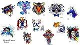 12pequeñas hojas Tatuajes de animales elefante perro león Tiger ciervo Tatuajes para fiestas festivales