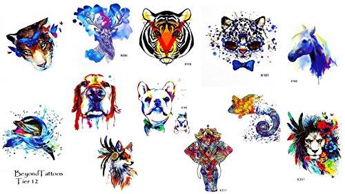 12 Bögen Set Tier Tattoos Löwen Tattoo Elefanten Tattoo Hunde Tattoos Tiger Tattoos Fake Tattoos