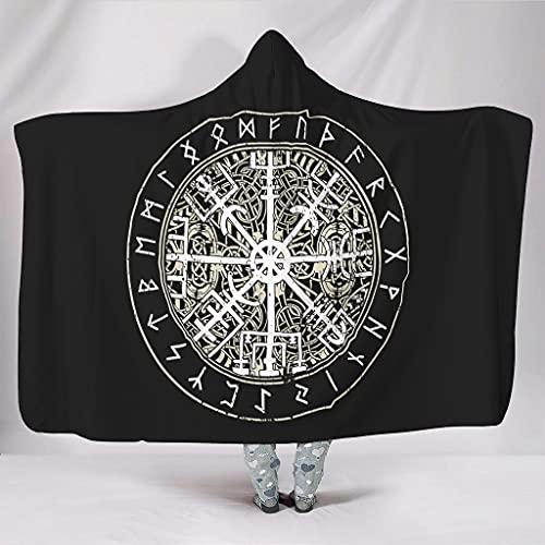 Hanebar Laickter Manta con capucha Viking Noruega, cómoda y lujosa, de moda, manta mítica para reloj de televisión para niños y adultos, color blanco de 152 x 203 cm