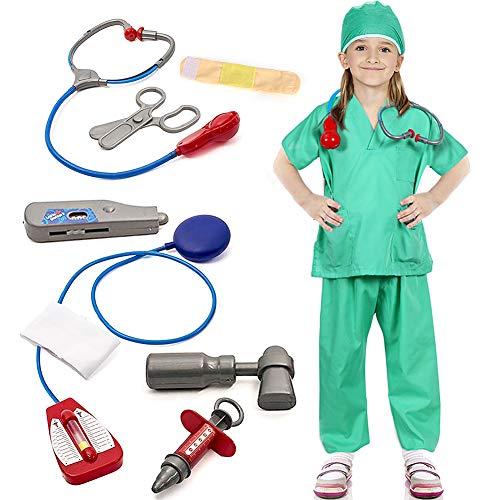 Tacobear Arzt Kostüm Kinder Chirurg Arzt Kinderkostüm Krankenschwester Krankenhaus Rollenspiel für Cosplay Halloween Karneval Fancy Dress Kostüm für Kinder