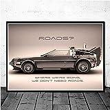 IFUNEW Cuadro de Arte de Pared Cartel clásico de la película de Regreso al Futuro del Coche, Cuadro sobre Lienzo para Pared, póster Impreso 60x90cm