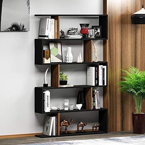 HOMIDEA Core Bibliothèque - Étagère de Rangement - Étagère pour Livres - Étagère pour Bureau/Salon par Le Design Moderne (Noir/Noyer)