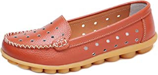 Zanpa Women Casual Penny Loafers Slip On Flats Moccasion Walking Driving Shoes Comfortable Colorful Orange Size 35