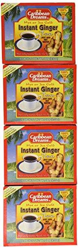 Caribbean Dreams Instant Ginger Tea, Pre-Sweetened, 10 Sachets (4 Pack)