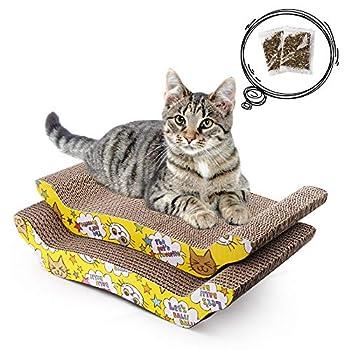 LotFancy 2 Pièces Griffoirs pour Chats Cartons à Gratter 43cm × 21cm pour Chats Carton Ondulé Réversible Rembourrage comme Canapé, Canapé-lit, au Noël pour Les Chats Mignons