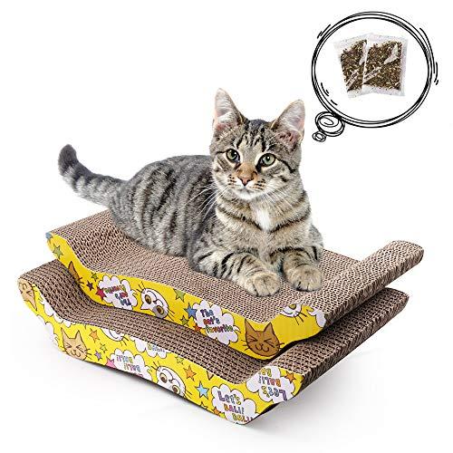 LotFancy 2PCS Rascadors para Gatos con Catnip para Cama y Sofá Almohadillas Rascadores para Gatos de Carton Reciclado...