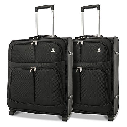 Aerolite leggero Max bagaglio a mano, 56 cm, 60 Litro, Nero (2 X Nero)