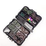 Karpfen Angelzubehör mit schwarzen Angelwerkzeugen Aufbewahrungsbox Gewichte Wirbel Druckknöpfe Sicherheitsclips Haken Wirbel Haarspangen