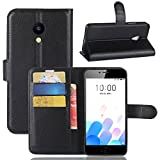 Tasche für MEIZU A5 / MEIZU M5C Hülle, Ycloud PU Kunstleder Ledertasche Flip Cover Wallet Case Handyhülle mit Stand Function Credit Card Slots Bookstyle Purse Design schwarz