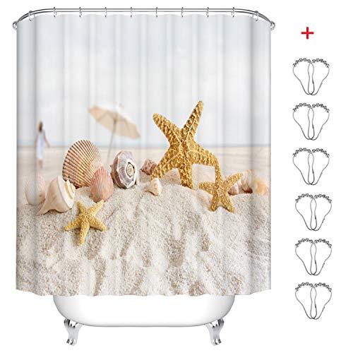 MIN-XL Duschvorhang Anti-Schimmel Textil Waschbar Anti-Bakteriel Badvorhänge 3D Wasserdicht Duschvorhänge mit 12 Edelstahl Duschvorhangringe für Badezimmer (Strand, Seestern und Shell, 180 x 200 cm)
