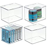 mDesign Organizador de cocina – Cajas apilables de almacenamiento para despensa y estantes de cocina – Organizador de nevera de plástico sin BPA y con tapa abatible – Juego de 4 – transparente