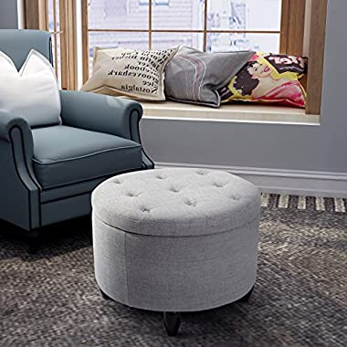 Harper&Bright Designs Round Button-Tufted Storage Ottoman with Removable Lid Footrest Stool Ottoman Bench (Grey)