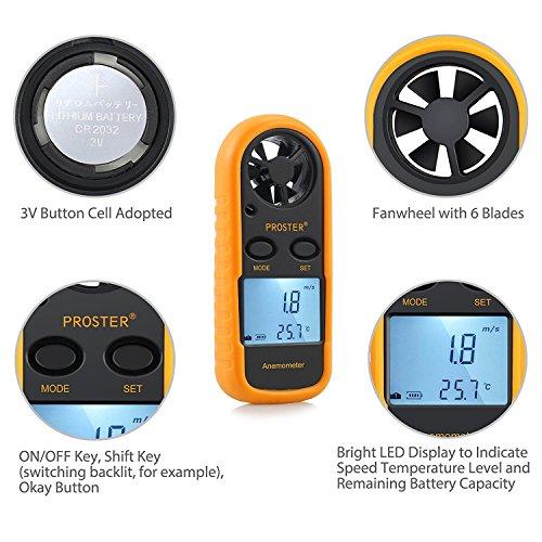 Proster Anemómetro Termómetro Digital de Pantalla LCD Medidor de Velocidad Viento...