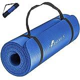 ROMIX Tappetino Yoga Antiscivolo, 10mm Extra-Spessa Yoga Mat, Schiuma di Memoria Stuoia di Fitness Esercizio per Uomini Donne, Casa, Professionale Palestra Allenamento Meditazione Pilates - Blu