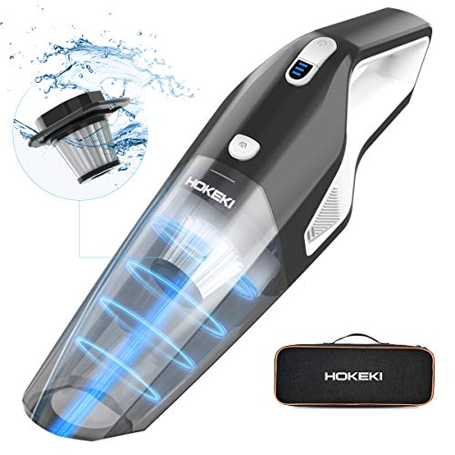 HOKEKI Handheld Vacuum Cleaner Cordless with Powerful Suction 8KPA, 2200mAh Lithium Battery & Stainless Steel Filter for Home and Car Cleaning,Wet Dry Lightweight Hand Vac (Black+White)