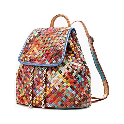 Handgefertigter Rucksack, echtes Leder, geflochten, Patchwork-Design, mehrfarbig Mehrfarbig Gewebte Klappe vorne.