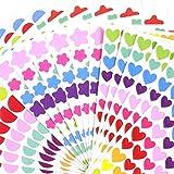 Pegatinas Estrella Corazón Punto- Etiqueta para Scrapbook Multicolor 36 Tabletas Pegatinas de Recompensa Premio de Padres Maestros Alabanza