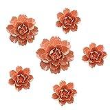 ALYCASO - Juego de 6 piezas de flores de cerámica para decoración de pared, decoración de pared, diseño de flores artificiales 3D para sala de estar, hogar, pasillo, recámara, cocina, granja,...