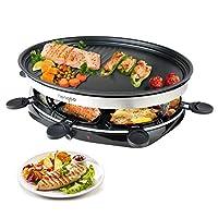 raclette 8 persone piastre per raclette calore regolabile continuo multifunzione con 8 mini padelle e 4 spatole in legno, 1500w