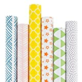 RUSPEPA Kraft Wrapping Paper Roll - Multi Color Printed Wrapping Paper for Birthdays, Valentines,...