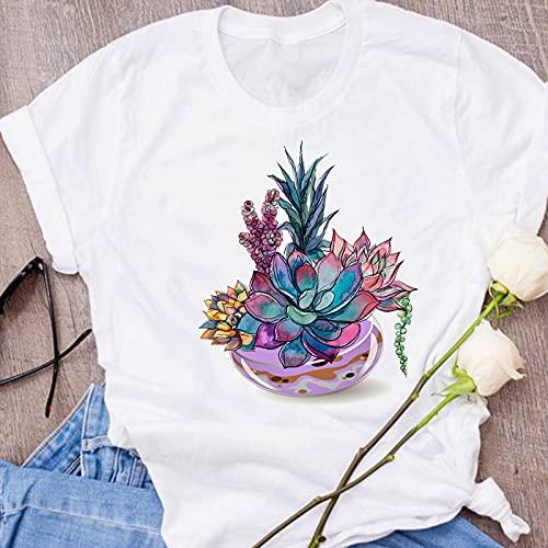 Camiseta De Manga Corta Para Mujer Cuello Redondo Camisas De Cuello Redondo Reloj Y Mariposa Estampado Camisa Verano Moda Casual Algodón Camiseta Camiseta Básicas, Regalos Para Las Mujeres, Blanco 4
