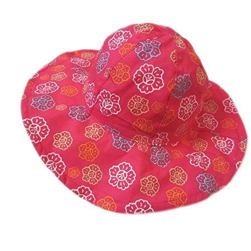 Gifts Treat Mädchen Eimer Hut Sommer Sonnenhut Faltbarer Boonie-Hut aus Baumwolle (Rosenblüten, 50CM)