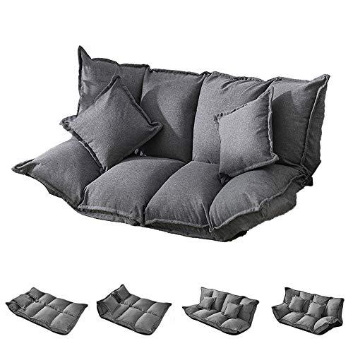 PUCHIKA Schlafsofa mit 2 Kissen, Grau 2 Sitzplätze Sofa 1,6 Meter, Bettkasten Sofa mit Schlaffunktion, Sofabett Waschbar Sofabezug