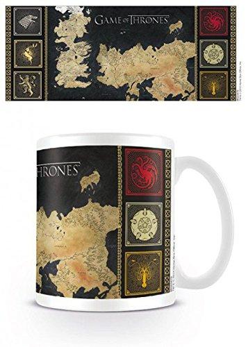 1art1 Juego De Tronos - Mapa De Essos Y Westeros, Logo, Blasón Taza Foto (9 x 8cm)