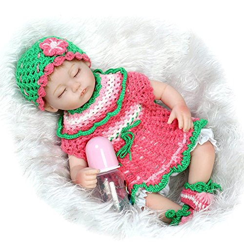 Nicery Reborn Baby Doll Réincarné bébé Poupée Doux Simulation Silicone Vinyle 18 Pouces 45cm Bouche Qui Semble Vivant Garçon Fille Jouet Vif réaliste Âge 3+ Boy Girl Red GRE Flower Dress Eyes Close
