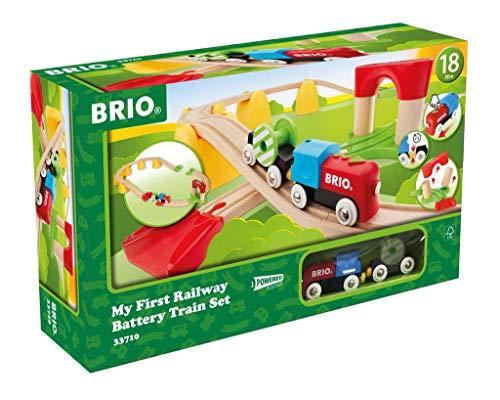 BRIO - 33710 - Mon Premier Circuit à pile - My First Railway - Coffret complet 25 pièces avec train électrique - Circuit de train en bois - Jouet pour garçons et filles dès 18 mois