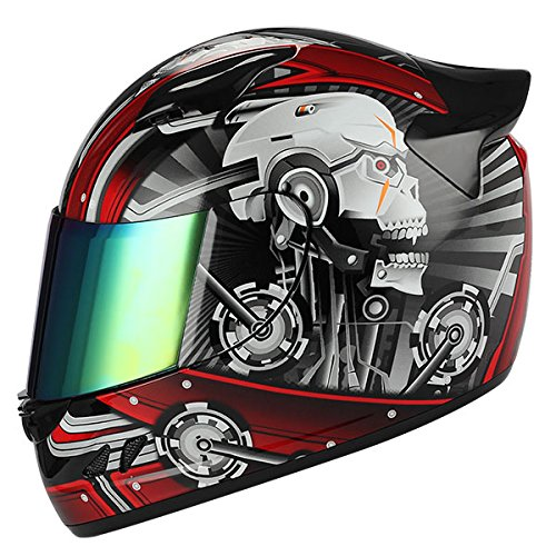1STORM MOTORCYCLE BIKE FULL FACE HELMET MECHANIC SKULL - Tinted Visor RED