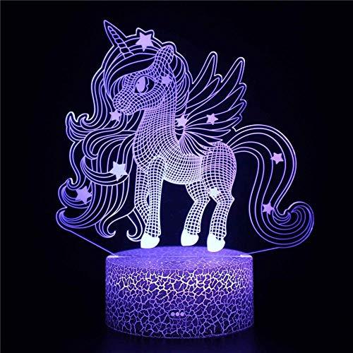 Luz de noche 3D unicornio niñas luz nocturna USB y baterías alimentadas, regalo satisfactorio para niños