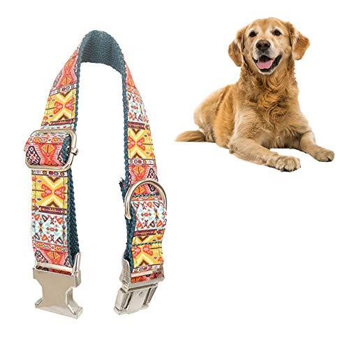 Borlai Collar para Mascotas Collar de Perro Resistente Ajustable Resistente Al Desgaste con Hebilla de Metal con Anillo en D