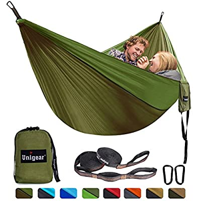 Unigear Double Camping Hammock, Portable Lightweight Parachute Nylon Hammock with Tree Straps for Backpacking, Camping, Travel, Beach, Garden (Oliver Green/Army Green, 320x200)