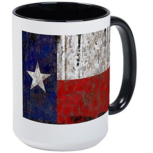 CafePress diseño retro de Texas Estado Bandera–taza de café, tamaño grande 15oz blanco taza de café, cerámica, White/Black Inside, Large