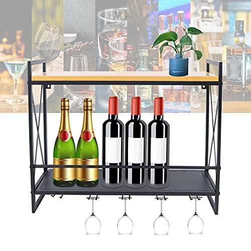 Dekorie - Botellero de madera y hierro, montaje en pared, con soporte para botellas de vino, color negro