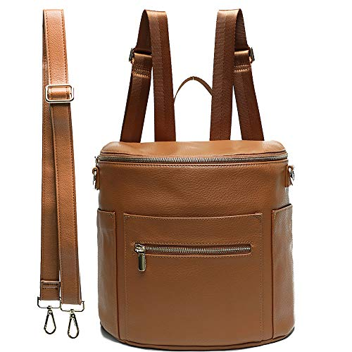 Leather Diaper Bag Backpack Purse by miss fong, Mini Backpack for mom with In bag organizer, Insulated Pocket and Shoulder Strap (Brown)
