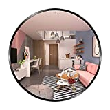 Espejo de Pared Redondo de 60cm con Marco de Aluminio Negro Superficie del Espejo Baño Resistente a la Humedad Explosiones,Fácil Montaje,Marco de 21 mm de Profundidad con Espejo de Aumento 3X