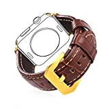 bandmax Fr Apple Watch Armband 42mm, Braunes Echtes Lederarmband mit vergoldeter Edelstahl...