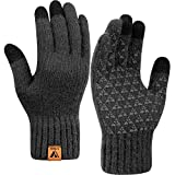 Winter Touch Screen Gloves Warm Full Fingers Knit Glove with Upgraded Touchscreen for men women - Anti-Slip Wool Glove Fleece Lined