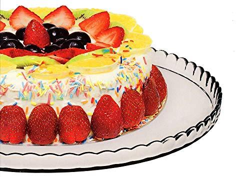 Cake Plate Glass Stand Round Platter Plateau à Gâteau Cupcake Patisserie 12.75 inches