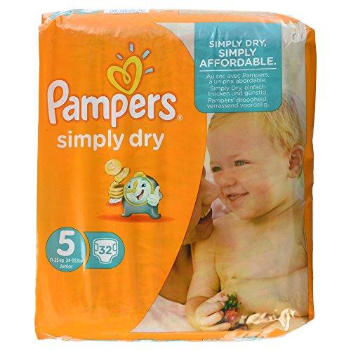Pampers Windeln Simply Dry, Gr. 5 Junior 11-25 kg, 1er Pack (1 x 32 Stück)
