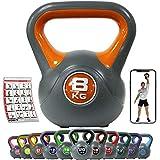 POWRX Kettlebell Kunststoff 2-20 kg inkl. Workout I Kugelhantel in versch. Farben und Gewichten I...