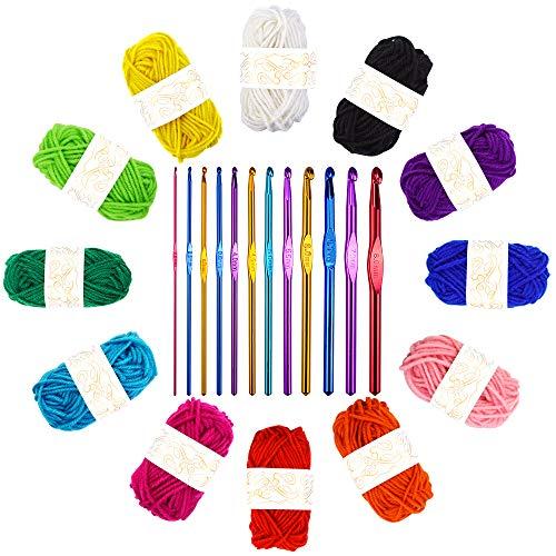 Häkelgarn Set, 12-Strang-Acrylgarn (12 * 10 g), mit 12 Geflochtenen Aluminium-Häkelnadeln, 2-8 mm, zur Herstellung von Decken, Haustierkleidung, Hüten, Handtüchern, Handschuhen