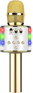 Wireless Karaoke Microphone with Portable Bag Bluetooth Speaker Handheld Reverberation Singing Recording Mic Speaker with ...