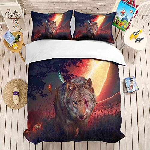 YZBEDSET 3D One-Eyed Wolf Bedding Sets Animal Duvet Cover Set Microfiber Fabric Bed Smooth Soft Rich Color Pattern Beautiful Comfortable Wrinkle Free,Us Queen 228X228Cm