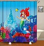 ufengke Duschvorhang Meerjungfrau Arielle mit 12 Haken Duschvorhang aus Stoff Polyester Wasserdicht Anti Schimmel für Badezimmer (180X180 cm)